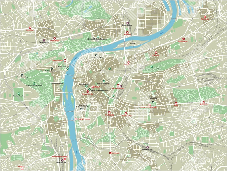 Magnetic Map Of Prague Illustrated Colored